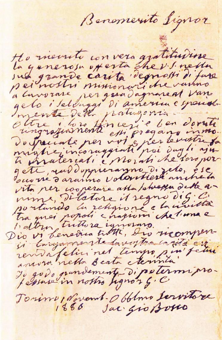 Lettera di Don Bosco