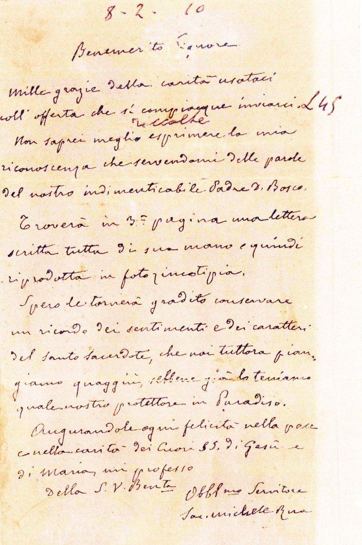 Lettera di Don Rua